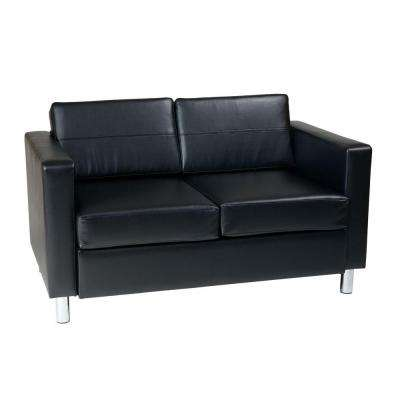 Pacific Black Vinyl Loveseat
