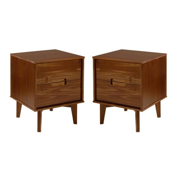 Mid Century Modern 2-Drawer Wood Nightstand (2-Pack) - Walnut