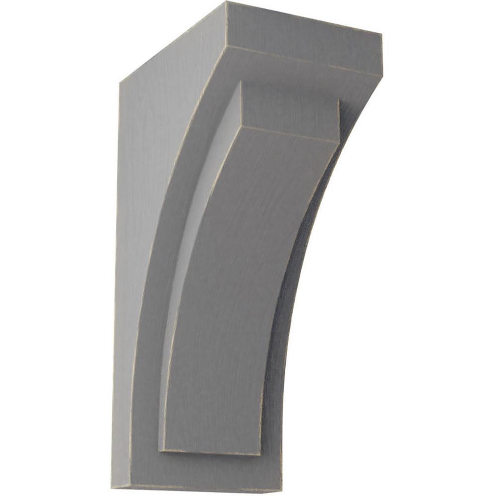 4 in. x 10 in. x 5-3/4 in. Pebble Grey Medium Felix Wood Vintage Decor Corbel
