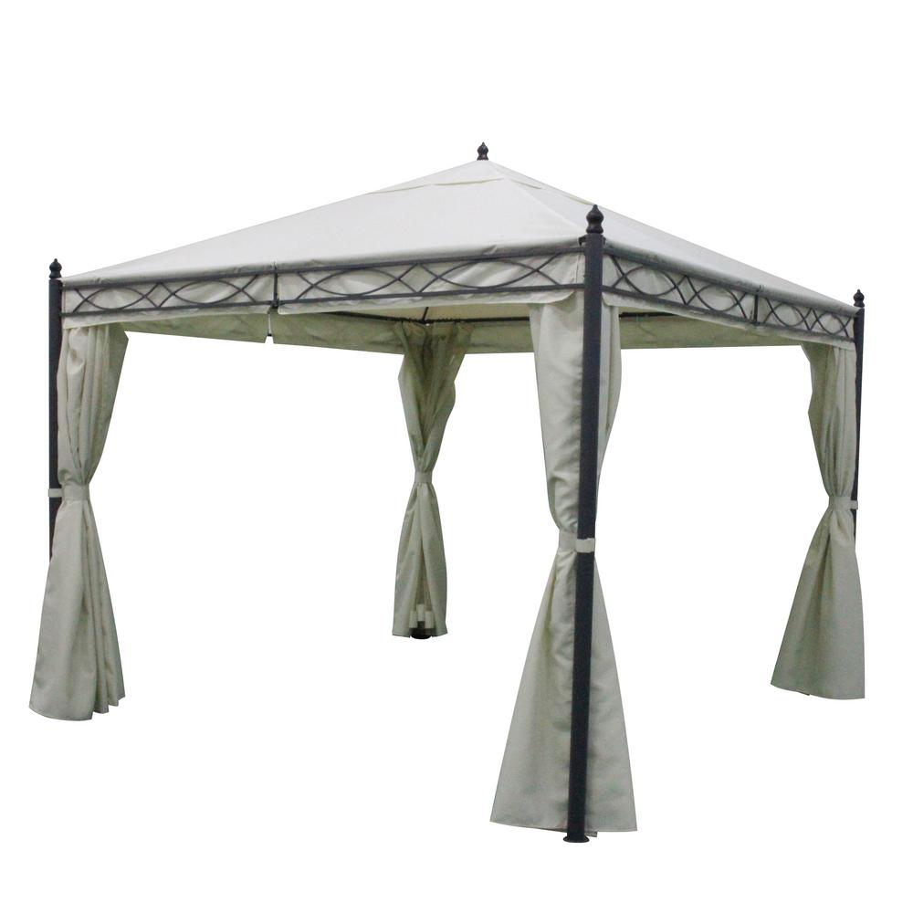 Dark Gray Steel Canopy Gazebo With Water Resistant Fabric Curtains