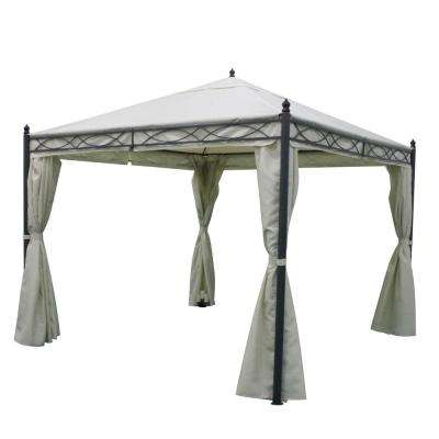 9.75 ft. 9.75 ft. Dark Gray Steel Canopy Gazebo with Water-Resistant Fabric Curtains
