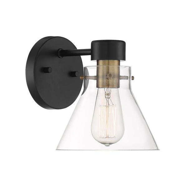 Willow Creek 1-Light Matte Black Wall Sconce with Clear Glass Shade