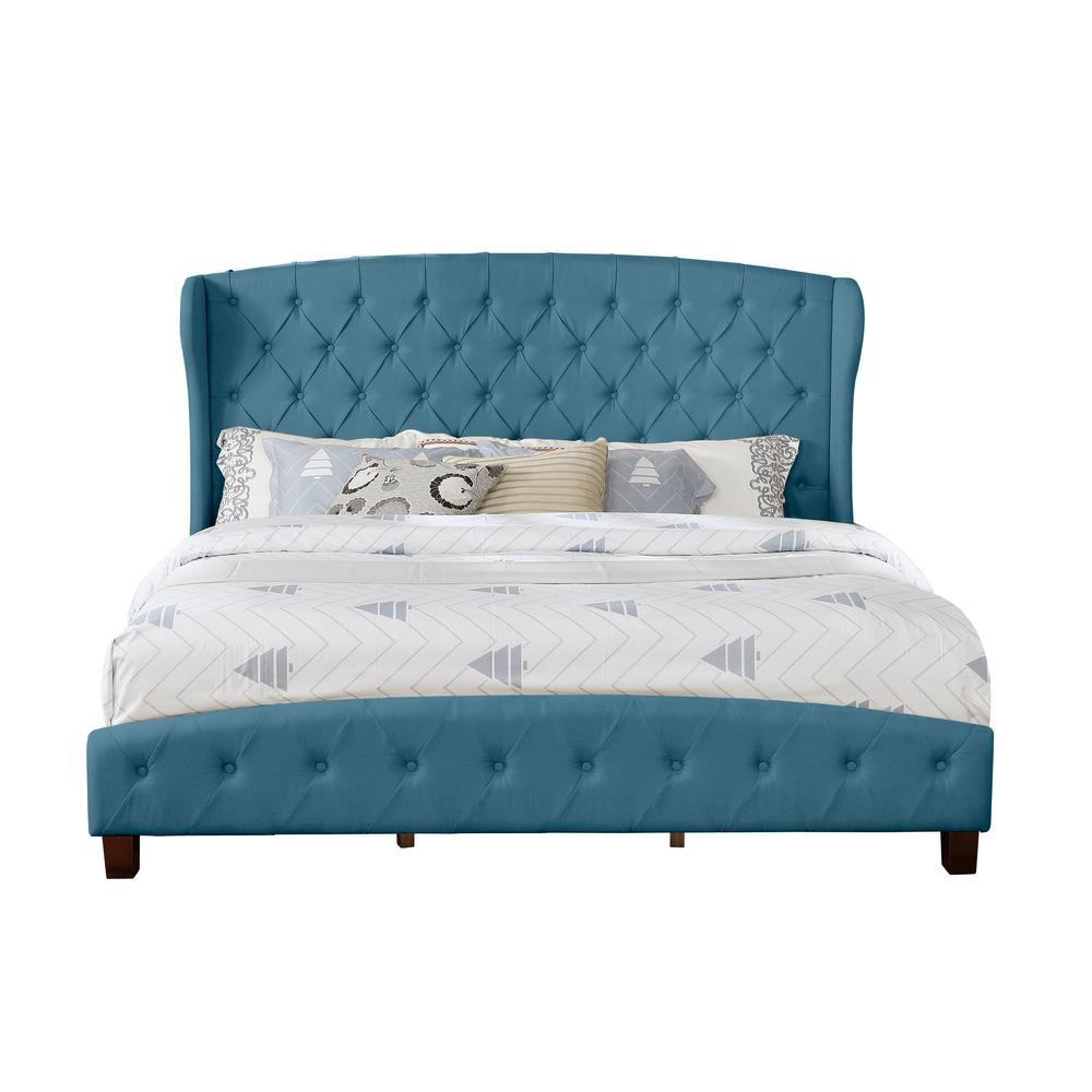Eastern Blue King Size Upholstered Shelter Bed
