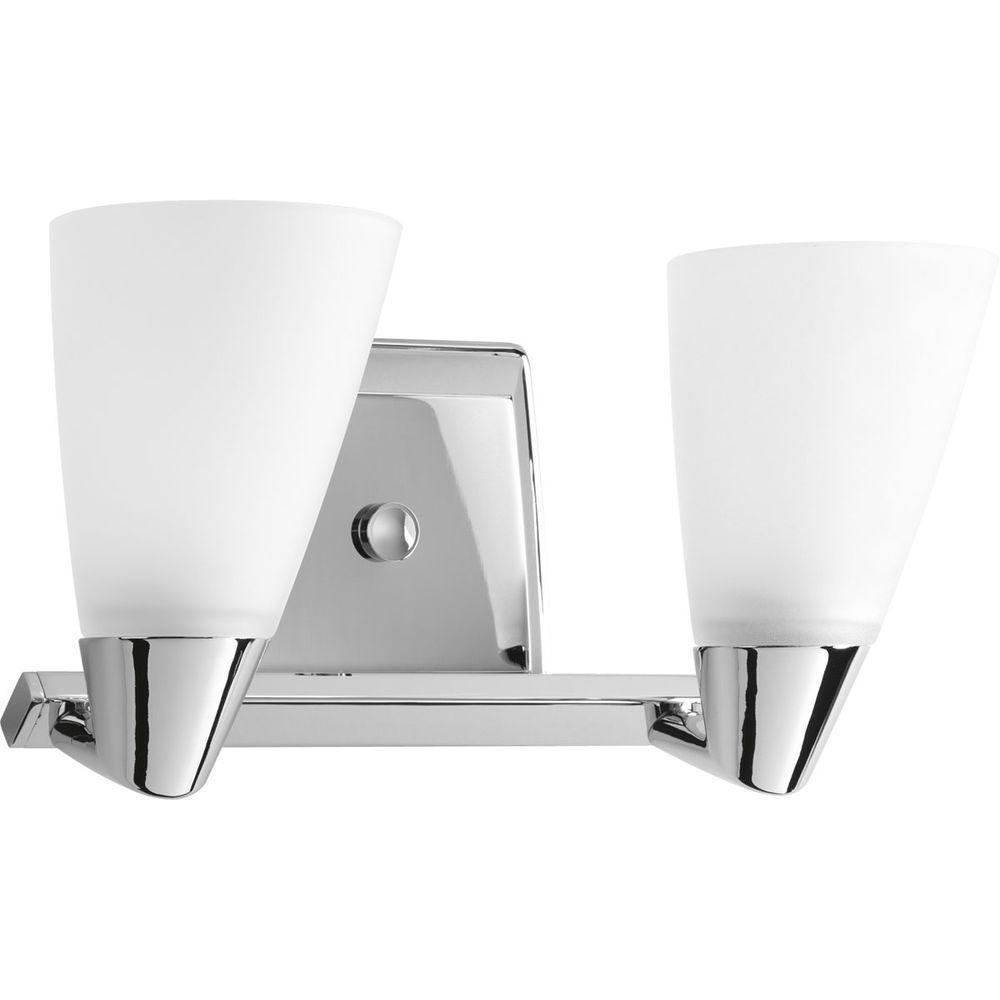 Progress Lighting Rizu Collection 2-Light Polished Chrome Vanity Fixture