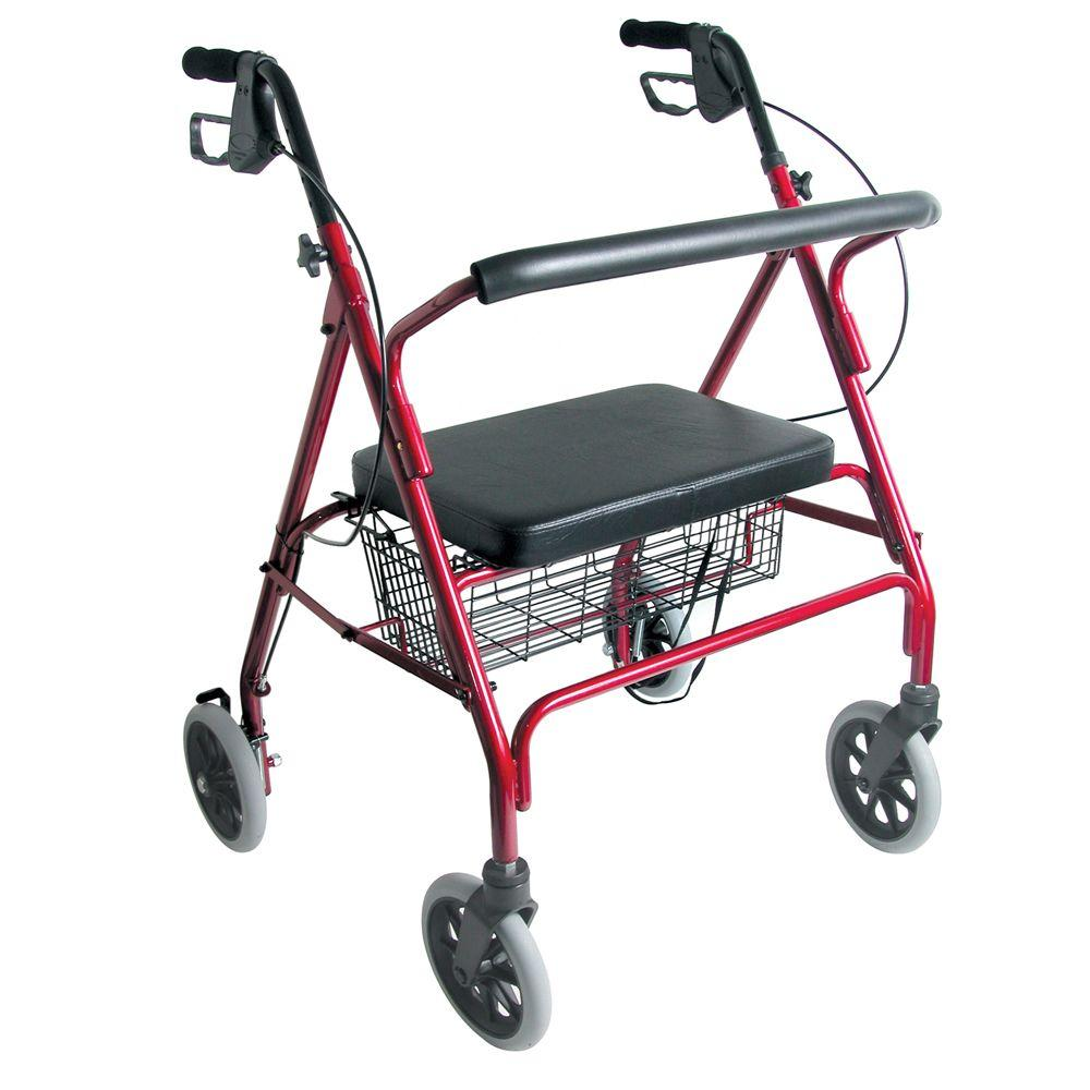 DMI Extra-Wide Heavy-Duty Steel Bariatric Rollator in Burgundy