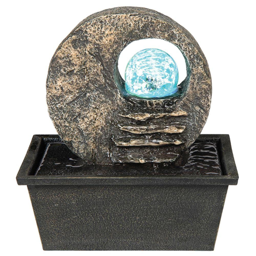 ORE International 8.5 in. Brown Table Fountain with LED Light-K328 ...