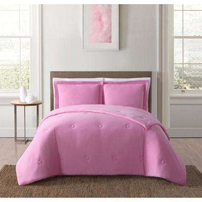 Everyday Solid Jersey Pink Full/Queen Comforter Set with 2-Shams