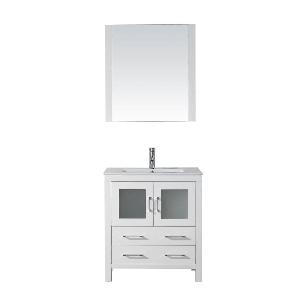 Virtu USA Dior 30 in. W Bath Vanity in White with Ceramic Vanity Top in Slim White Ceramic with Square Basin and Mirror and Faucet
