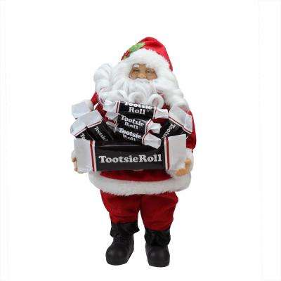 12 in. Santa Claus with Arms Full of Tootsie Rolls Christmas Tabletop Decoration