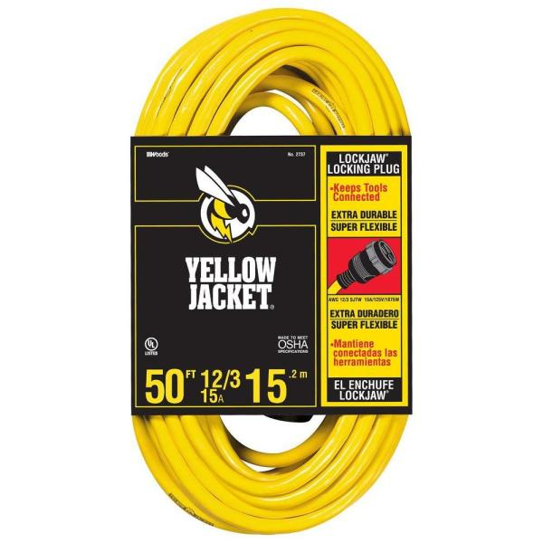 50 ft. 12/3 SJTW Outdoor Heavy-Duty Lock Jaw Extension Cord