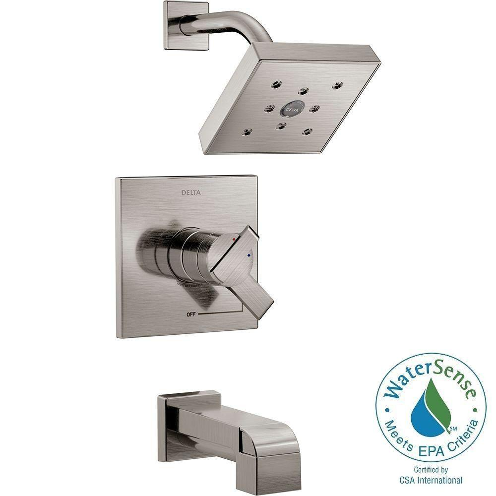 Delta Ara 1-Handle H2Okinetic Tub and Shower Faucet Trim Kit in ...
