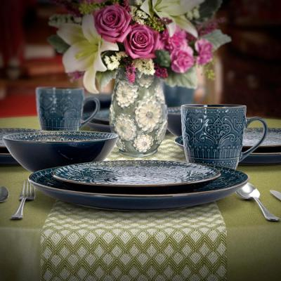 Deepsea Mozaic 16-Piece Modern Sea Blue Stoneware Dinnerware Set (Service for 4)