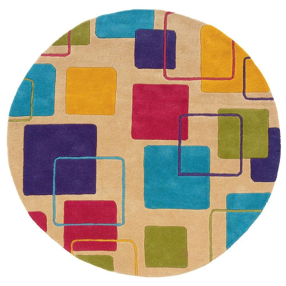 Contemporary Ivory 7 ft. 9 in. Round Plush Indoor Area Rug