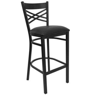 31 in. Black Cushioned Bar Stool