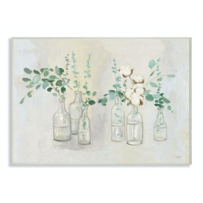 """12 in. x 18 in. """"Flowers And Plants Neutral Grey Green Painting"""" by Julia Purinton Wood Wall Art"""