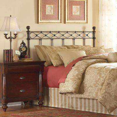 Argyle King-Size Headboard with Round Finial Posts and Diamond Wire Metal Grill Design in Copper Chrome Finish
