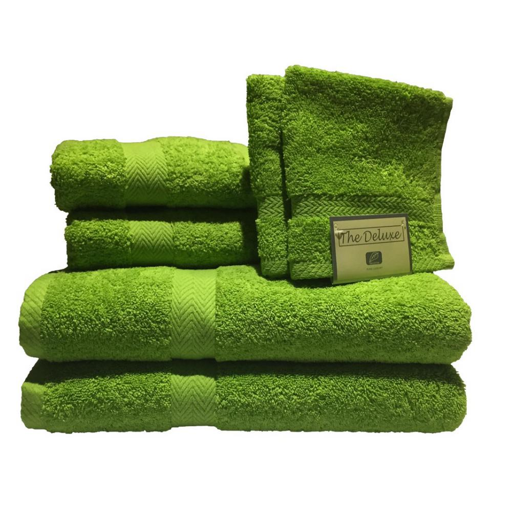 Deluxe 6-Piece Cotton Terry Bath Towel Set in Lime