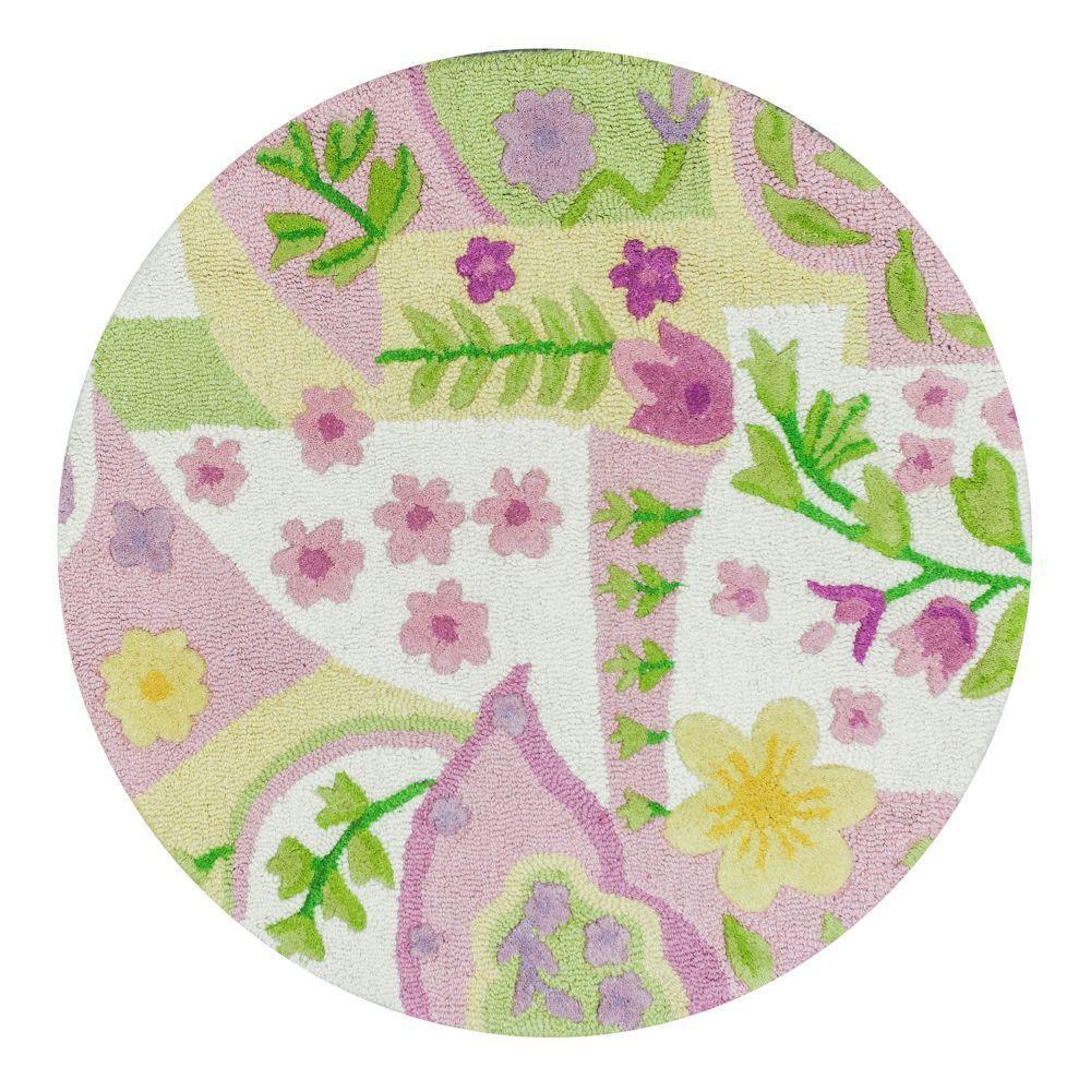 Kas Rugs Princess Pink/Multi 3 Ft. X 3 Ft. Round Area Rug