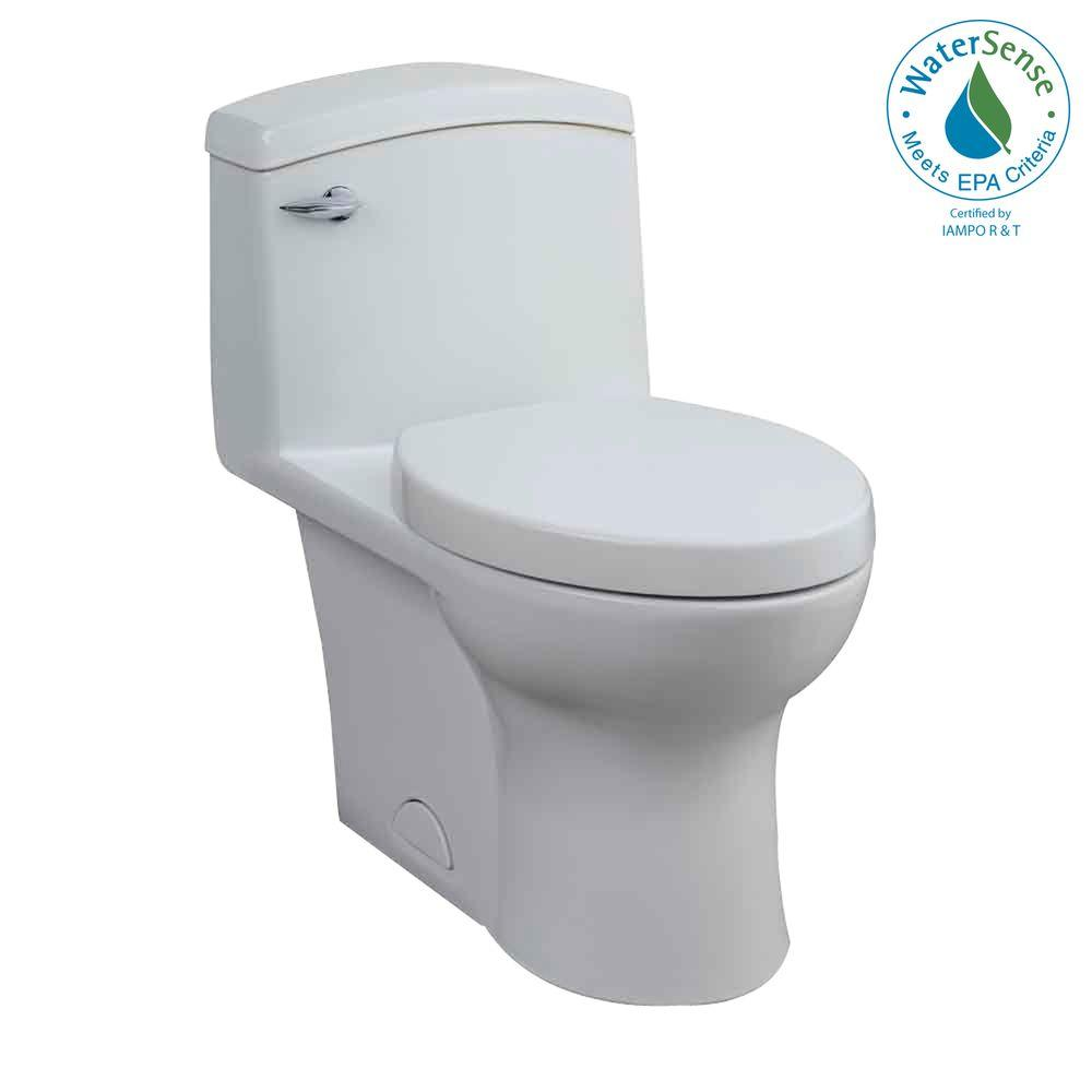 Porcher Veneto 1-Piece 1.25 GPF High-Efficiency Elongated Water Closet Toilet with Slow-Close Seat in White-DISCONTINUED