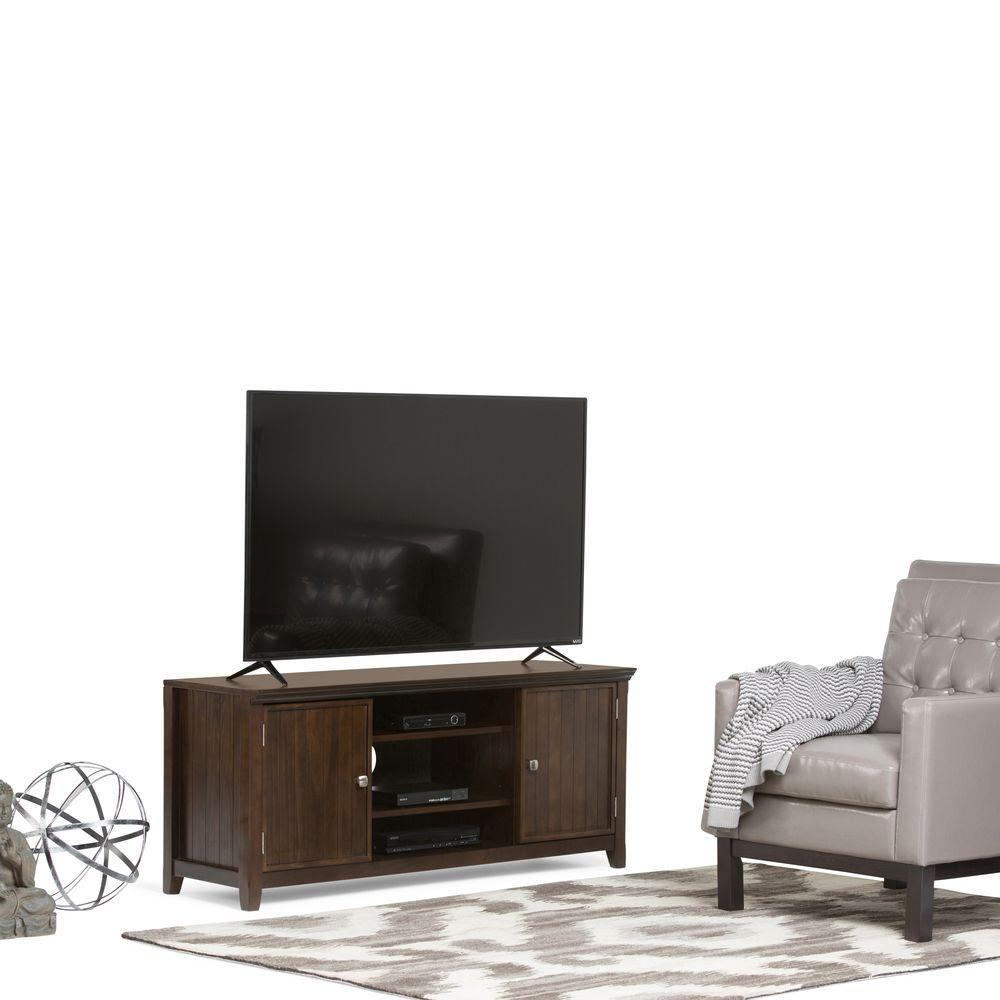 Simpli Home Acadian Dark Tobacco Storage Entertainment Center