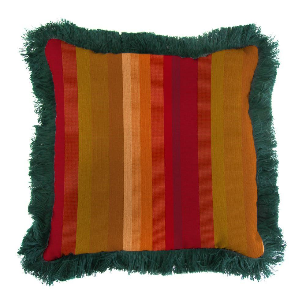 Sunbrella Astoria Sunset Square Outdoor Throw Pillow with Forest Green Fringe