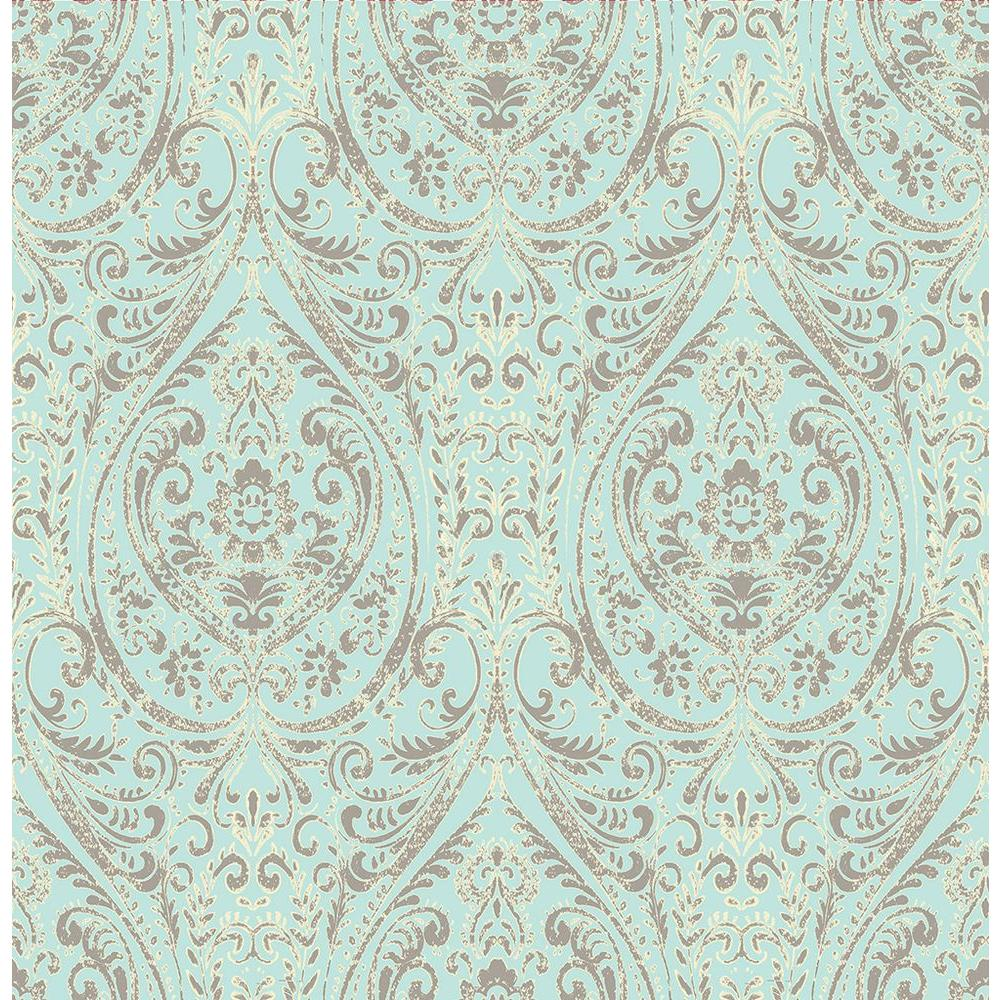 A Street Gypsy Turquoise Damask Wallpaper