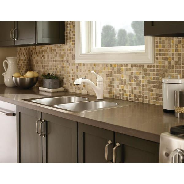 Moen Renzo Single Handle Pull Out Sprayer Kitchen Faucet In Glacier Ca87316w The Home Depot