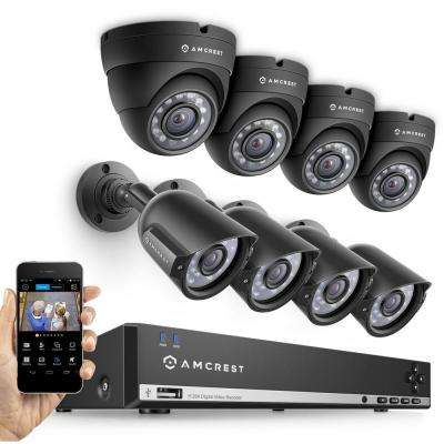 960H 8-Channel Video Security Kit - 8 x 800TVL Bullet/Dome Outdoor Cameras, 65 ft. Night Vision 1TB HD (Upgradable)