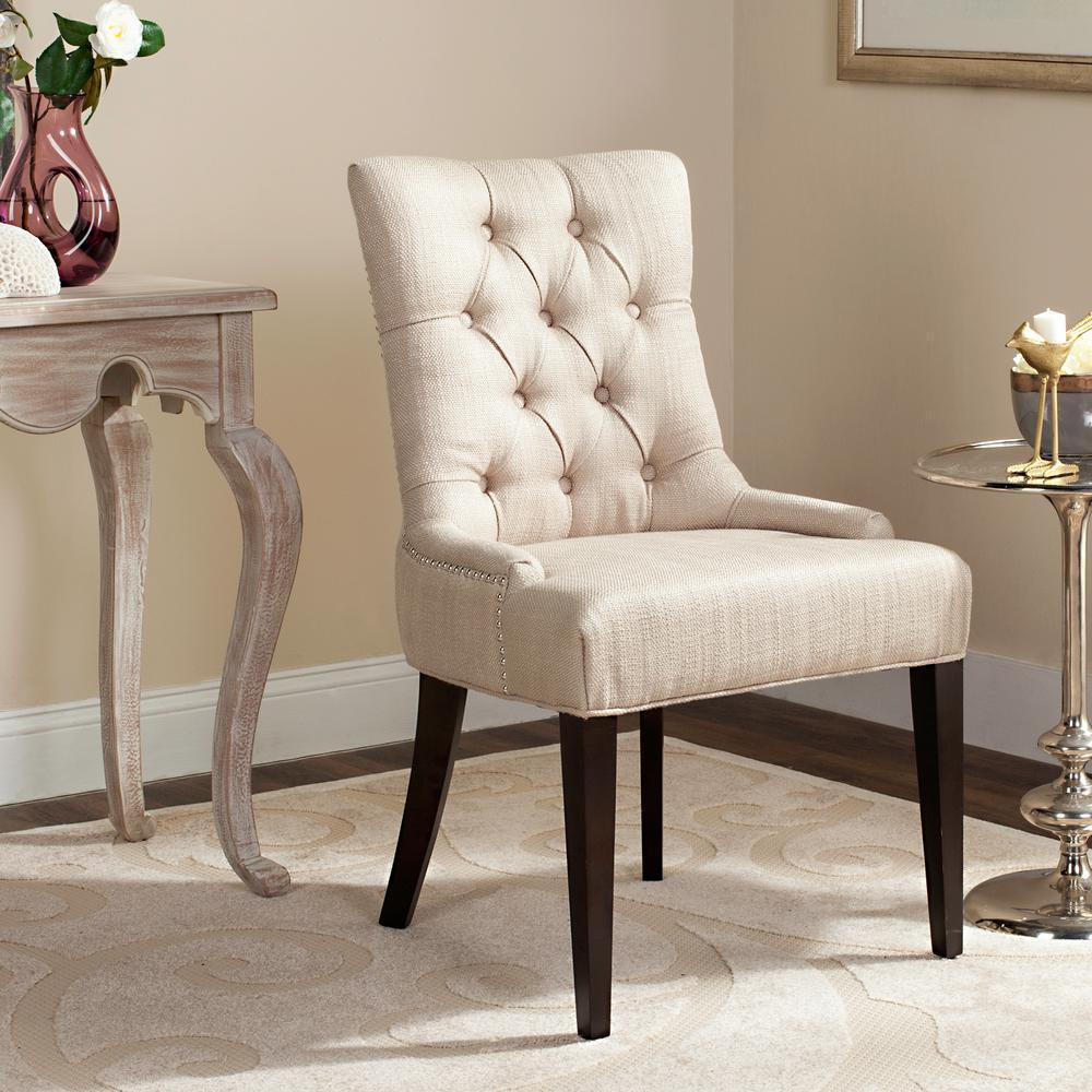 Amanda Antique Gold Linen Blend Accent Chair