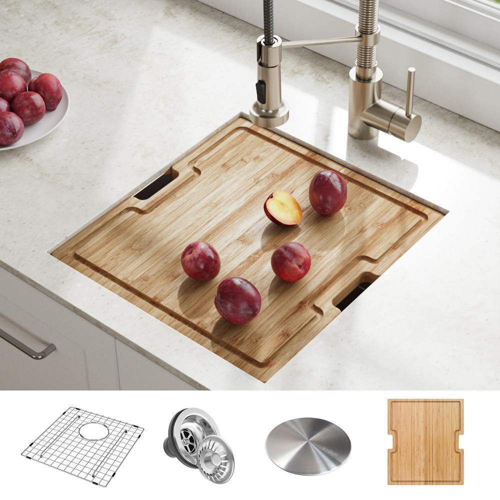 Kore Workstation 16-Gauge Undermount Stainless Steel 17 in. Single Bowl Kitchen Bar Sink with Accessories