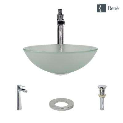 Glass Vessel Sink in Frosted with R9-7007 Faucet and Pop-Up Drain in Chrome