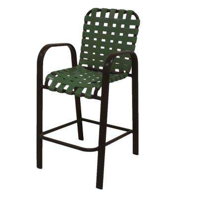 Marco Island Dark Cafe Brown Commercial Grade Aluminum Bar Height Patio Dining Chair with Green Cross Vinyl Straps