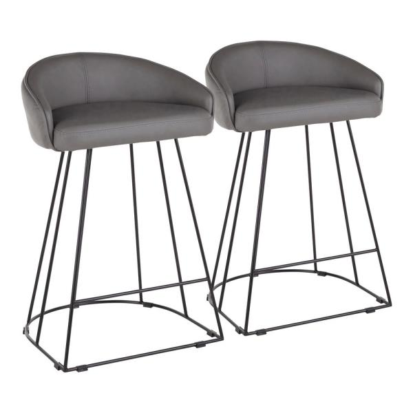 Lumisource Canary 26 in. Grey Faux Leather and Black Metal Upholstered
