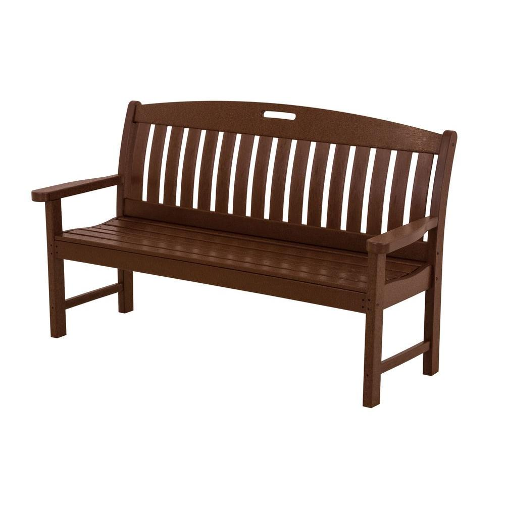 POLYWOOD Nautical 60 in. Mahogany Plastic Outdoor Patio Bench