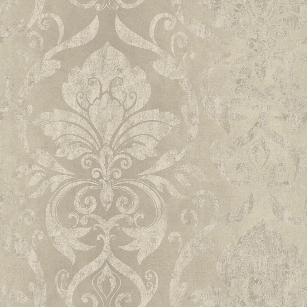 Lulu Taupe Smiling Damask Wallpaper Sample