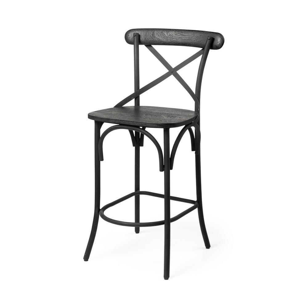 Etienne 26.25 in. Seat Height Black Wood Seat Black Metal Base Stool