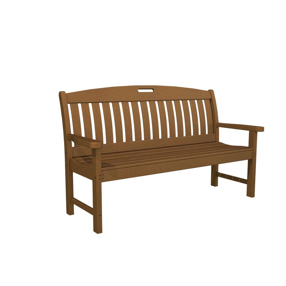 Teak plastic outdoor patio bench