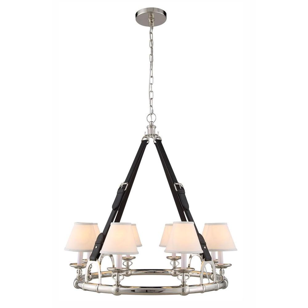 Elegant Lighting Cascade 8 Light Polished Nickel Pendant Lamp