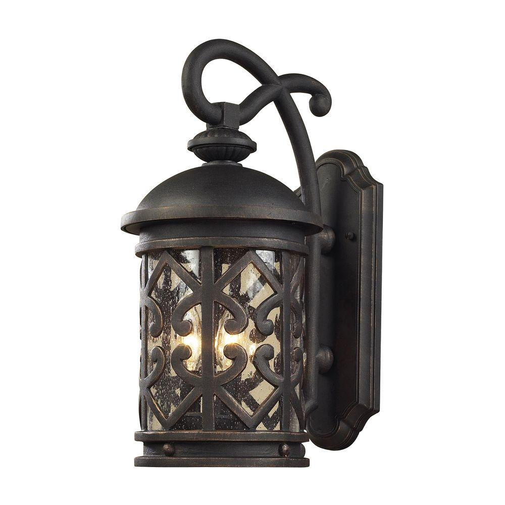 Titan Lighting Tuscany Coast 3-Light Outdoor Weathered Charcoal Wall Sconce
