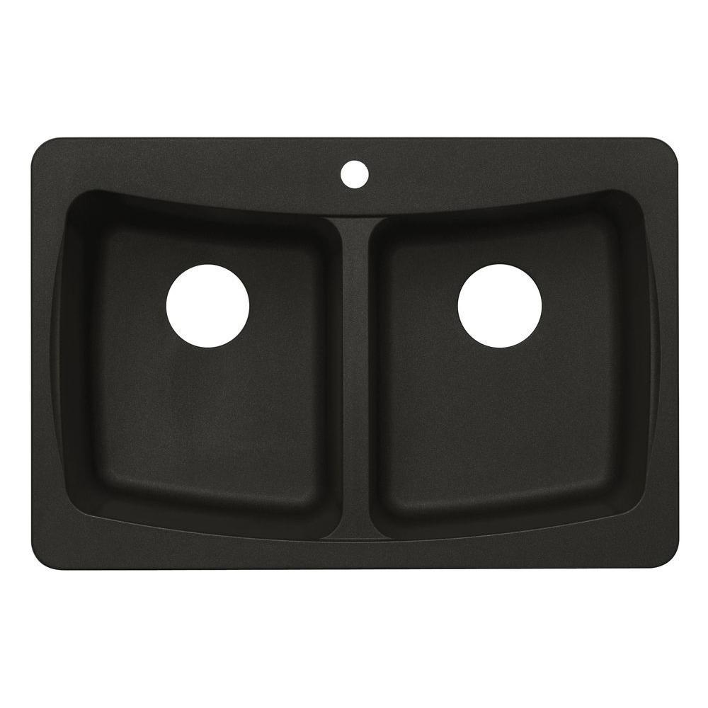 null Dual Mount Granite 33 in. 3-Hole Double Basin Kitchen Sink in Metallic Black
