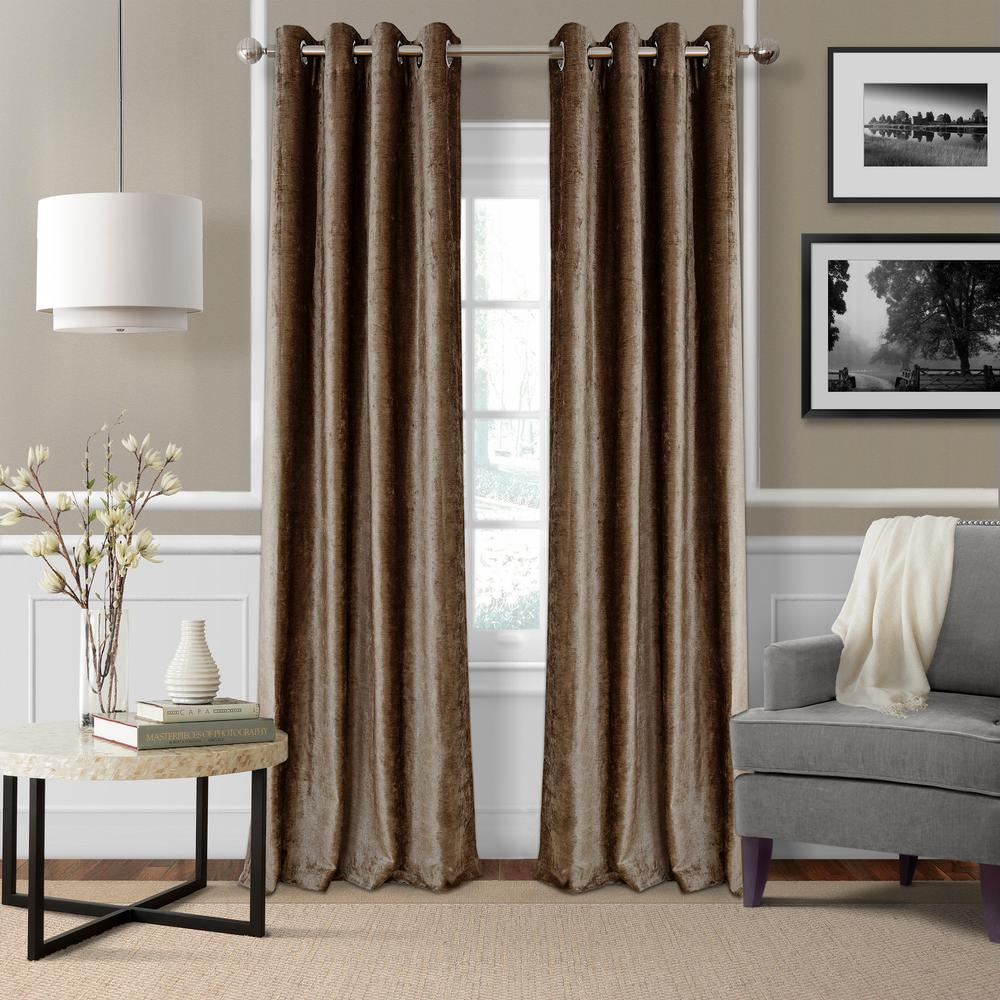 Blackout Victoria Bronze Blackout Grommet Window Curtain Panel - 52 in.