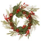 24 in. Magnolia Leaves, Berries, Pine Cones and Apples Wreath