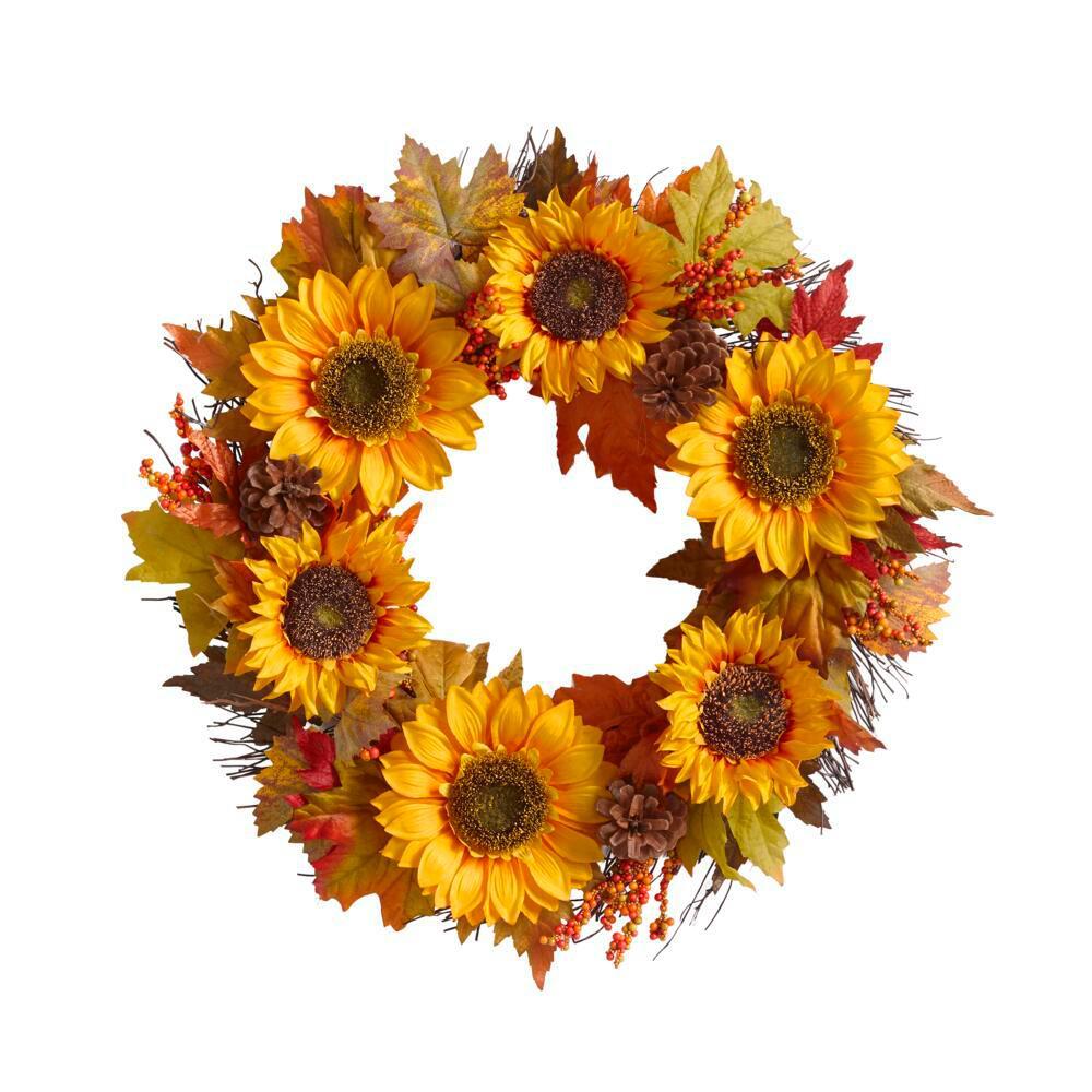 22 in. Unlit Artificial Sunflower Fall Wreath