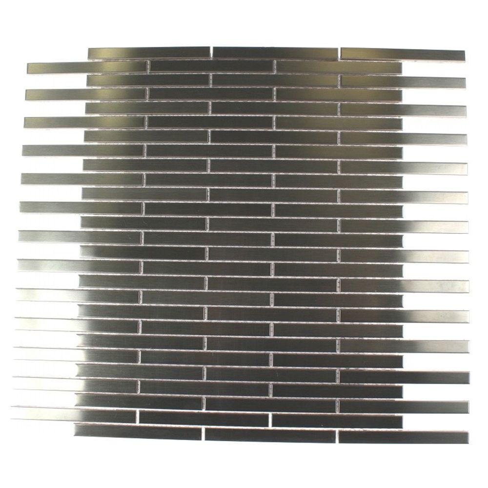 Splashback Tile Metal Silver Stainless Steel Stick 12 in....