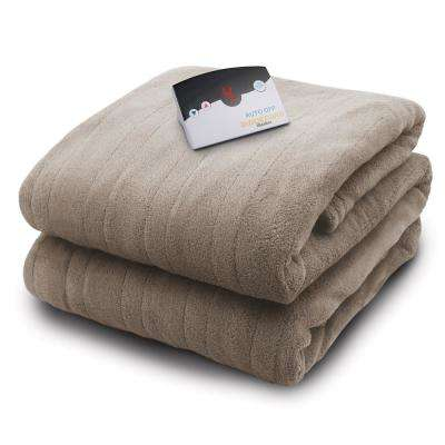 2030 Series Micro Plush Heated 62 in. x 84 in. Taupe Twin Size Blanket
