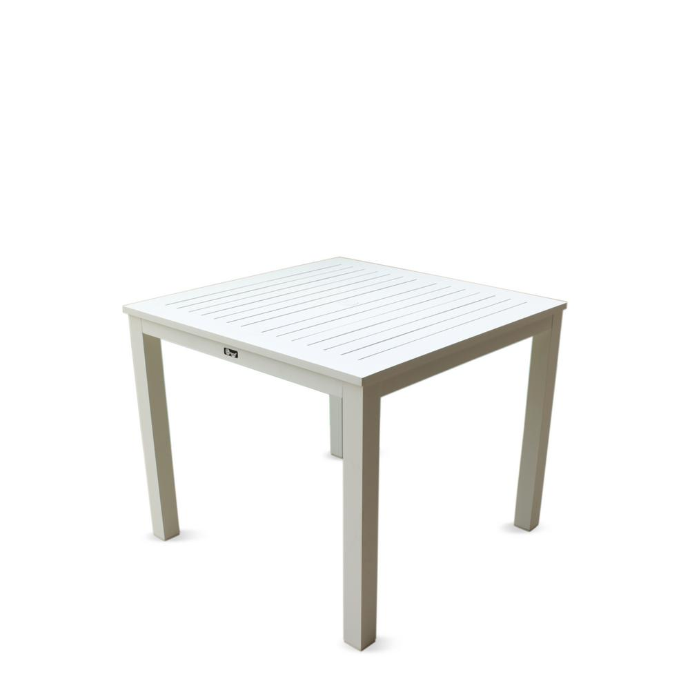 White Square Dining Table: Courtyard Casual Skyline White Aluminum Outdoor Square