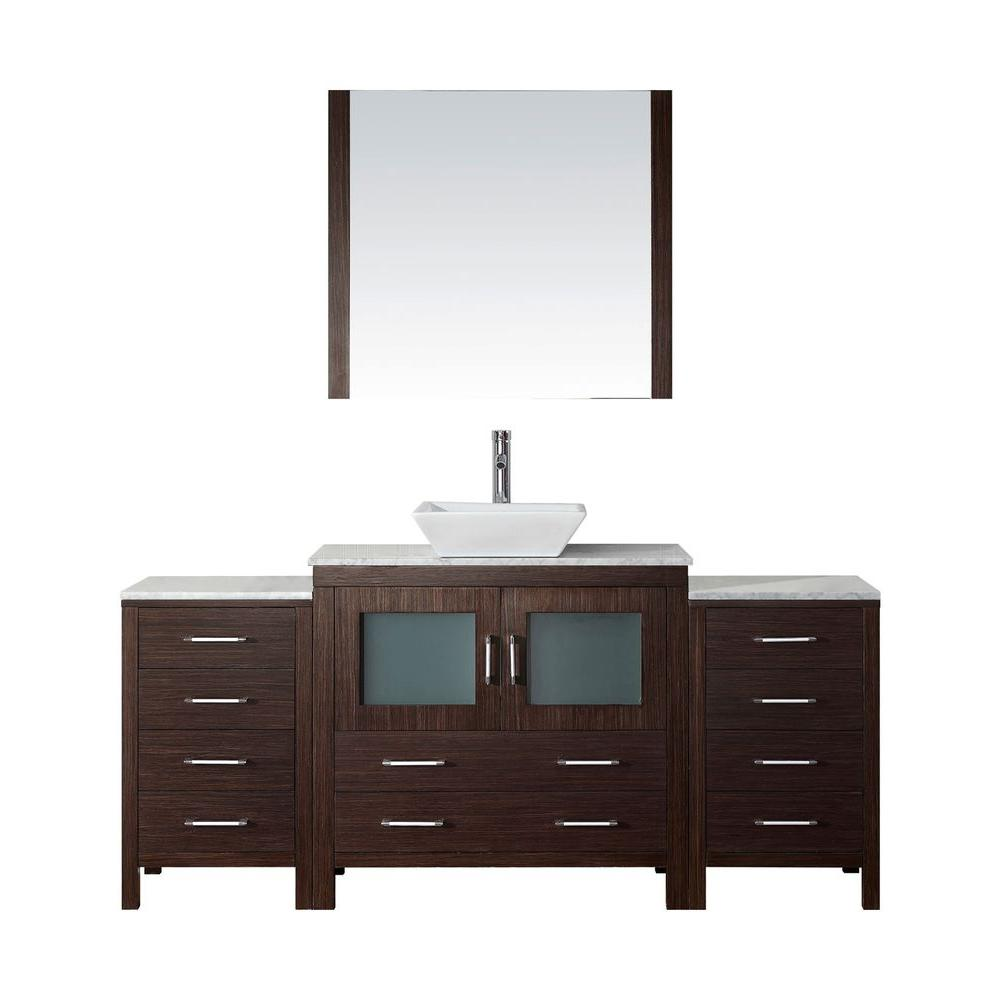 Virtu USA Dior 73 in. W Bath Vanity in Espresso with Marble Vanity Top in White with Square Basin and Mirror and Faucet