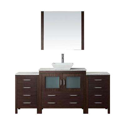 Dior 73 in. W Bath Vanity in Espresso with Marble Vanity Top in White with Square Basin and Mirror and Faucet