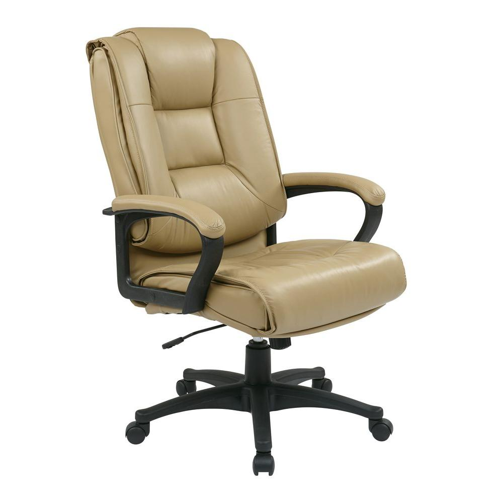 work smart tan leather high back executive office chair ex5162 g11