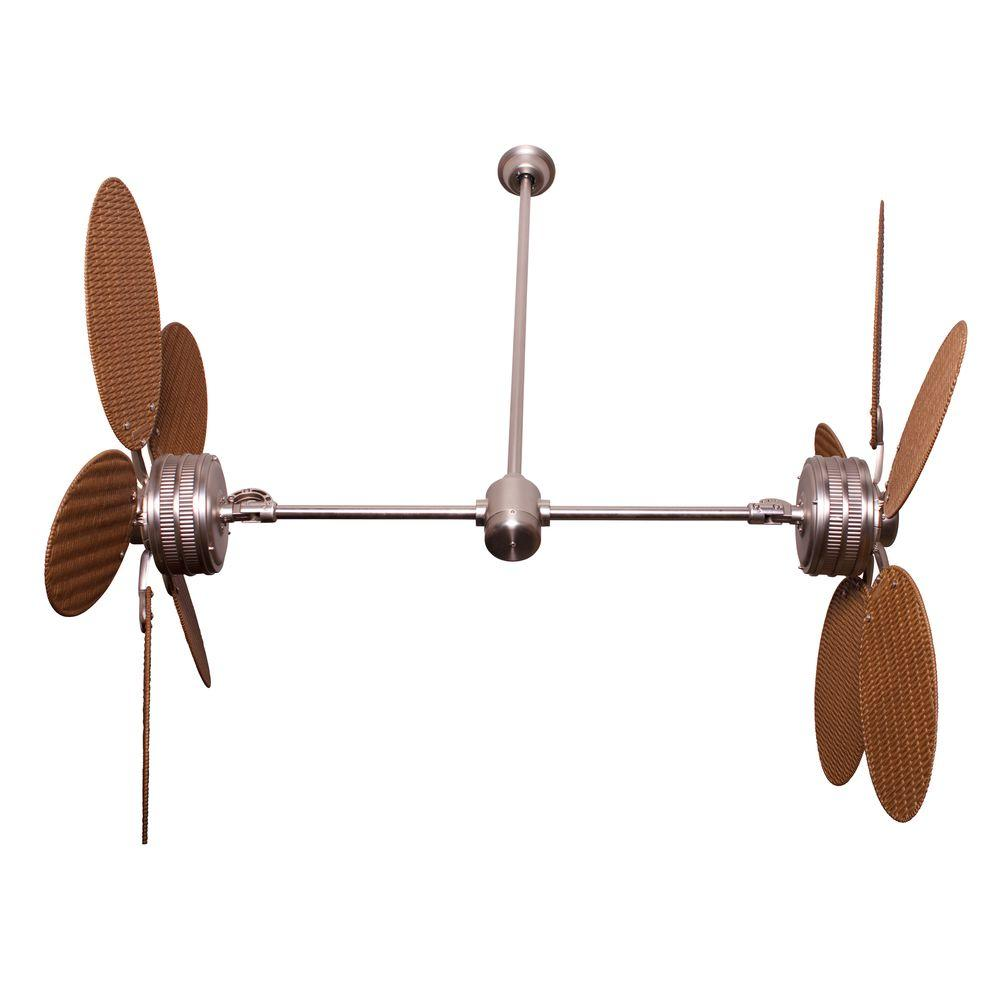 Yosemite Home Decor Twin Peaks 47 in. Indoor/Outdoor Brushed Nickel Ceiling Fan with Teak Palm Blades-DISCONTINUED